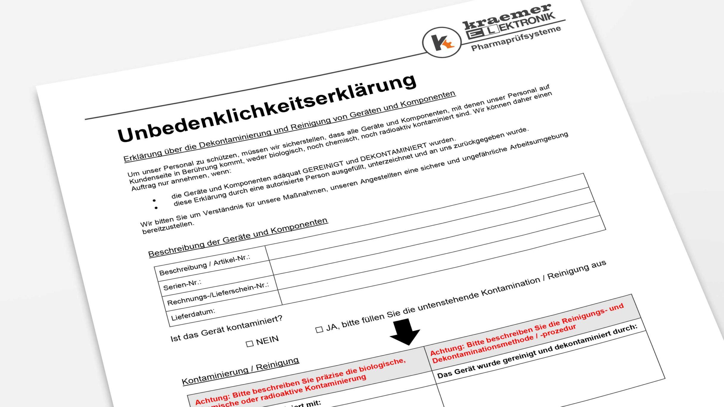 Unbedenklichkeitserklärung, Kraemer Elektronik GmbH